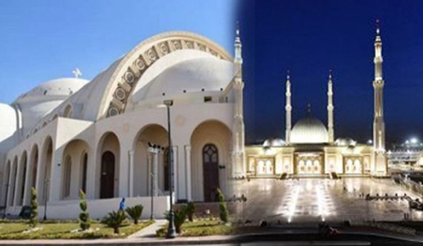 """السيسي يشهد افتتاح مسجد """"الفتاح العليم"""" وكاتدرائية """"ميلاد المسيح"""""""