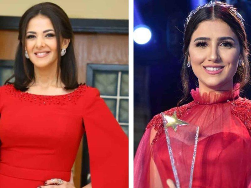 تألق دنيا سمير غانم ومي عمر بالاحمر خلال حفل قنوات النايل دراما السنوى